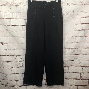 FLAX Linen Black Button Sailor Wide Leg Pants